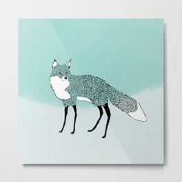 Fox in the snow – Animal Illustration – Kitsune in snow scene – vintage colors – antiqued colors Metal Print