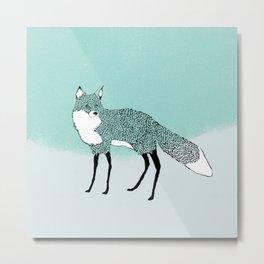 Fox in the snow – Animal Illustration – Kitsune in snow scene – vintage colors – antiqued colors Metal Print
