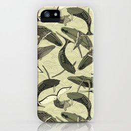 whales and waves natural iPhone Case