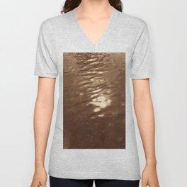 Reflections_brown vintage style Van Dyke print Unisex V-Neck