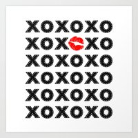 xoxo Art Prints featuring XOXO by DuniStudioDesign