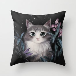 Minty the cat Throw Pillow