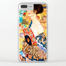 Gustav Klimt - Lady with a Fan - Dame mit Fächer - Vienna Secession Painting Clear iPhone Case