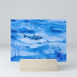Great white in blue Mini Art Print