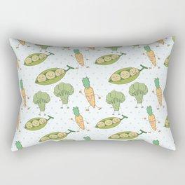 Cute funny greens orange blue polka dots vegetables Rectangular Pillow