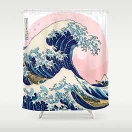 The Great Wave off Kanagawa by Hokusai in pink Shower Curtain