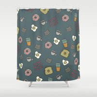 70s Shower Curtains featuring 70S Cafe by Calepotts