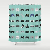 evolution Shower Curtains featuring Console Evolution by Dorothy Leigh