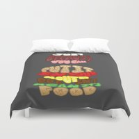 food Duvet Covers featuring Food by Satyrbug