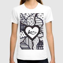 Free Hand Drawn Love Pattern T-shirt