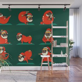 Santa Pug Yoga Wall Mural