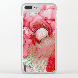 red alcohol ink flowers Clear iPhone Case