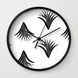 Pandanus Leaf Pattern - Black Wall Clock