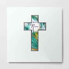 He is Risen Cross Metal Print
