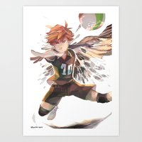 haikyuu Art Prints featuring haikyuu!! Hinata Shouyo print by Lawey