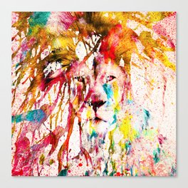 Wild Lion Sketch Abstract Watercolor Splatters Canvas Print
