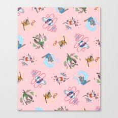 Sailor Kitties Pink Pattern Canvas Print