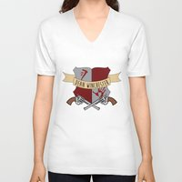dean winchester V-neck T-shirts featuring Dean Winchester Crest by Andi Robinson