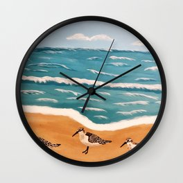 Sand Pipers on the Beach Wall Clock