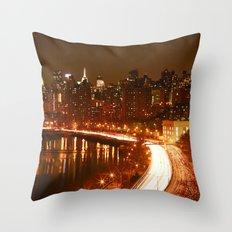 New York City Night Skyline. Throw Pillow