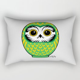 Green Fukuro Daruma Rectangular Pillow
