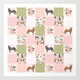 Australian Cattle Dog cheater quilt pattern dog lovers by pet friendly Art Print