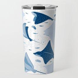 Blue stingrays // white background Travel Mug