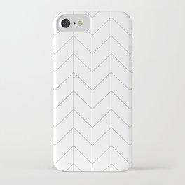 Herringbone Chevron (Thin Black On White) iPhone Case