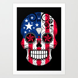 Sugar Skull with Roses and Flag of The United States Art Print