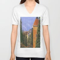 prague V-neck T-shirts featuring Prague Castle by Vivid Perceptions