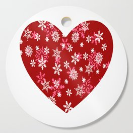 Red Heart Of Snowflakes Loving Winter and Snow Cutting Board
