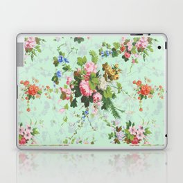 Antique romantic vintage 1800s Victorian floral shabby rose flowers pattern aqua mint hipster print Laptop & iPad Skin