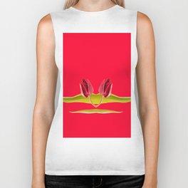 Flourish red tulip head Biker Tank