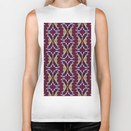 Yellow Burgundy Ornament Baroque Damask Pattern Biker Tank