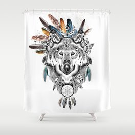 Bohemian Wolf with Feather Headdress Shower Curtain