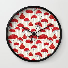 Red mushrooms on the light background Wall Clock