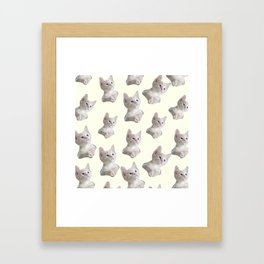 cute girly chic beige white cat pattern Framed Art Print
