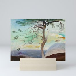 Lonely Cedar Tree Landscape Painting Mini Art Print
