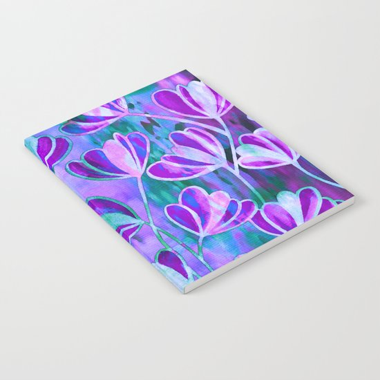EFFLORESCENCE Lavender Purple Blue Colorful Floral Watercolor Painting Summer Garden Flowers Pattern Notebook