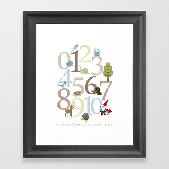 Woodland Numbers Framed Art Print