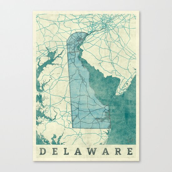 Delaware State Map Blue Vintage Canvas Print