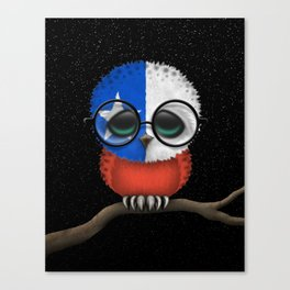 Baby Owl with Glasses and Chilean Flag Canvas Print
