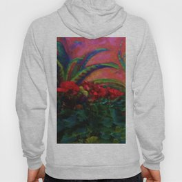 RED GERANIUMS GREEN SUCCULENT PAINTING Hoody