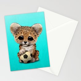 Leopard Cub With Football Soccer Ball Stationery Cards