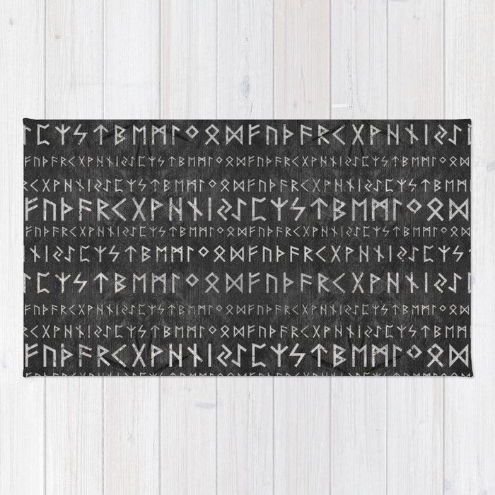Elder Futhark Pattern on wooden texture Rug