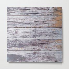 Rustic distressed western country old barn beige light grey woodgrain Metal Print