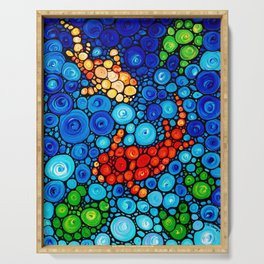 Pure Koi Joi - Mosaic Fish Art Painting by Sharon Cummings Serving Tray