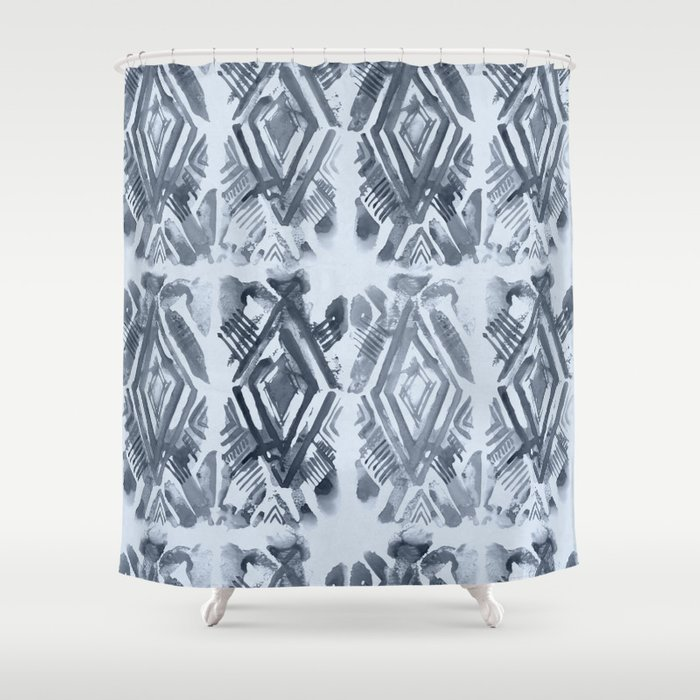 Simply Ikat Ink In Indigo Blue On Sky Shower Curtain