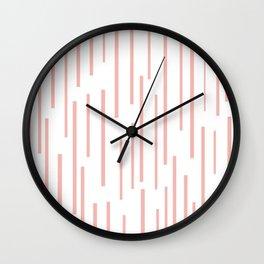 Leitungen Minimalist Pink and White Interrupted Line Pattern Wall Clock