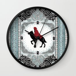 Red and Wolf Wall Clock